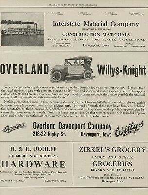 Davenport, Iowa Businesses: Large 1919 AD Sheet w/ Overland Willys-Knight Dealer