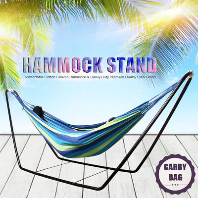Blue Hammock Double Outdoor Steel Frame Stand Heavy Duty Camping Hanging Fabric