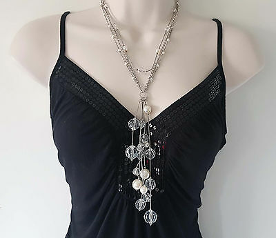 "Stunning 18"" long silver tone layered chain & faux pearl - bead tassel necklace"
