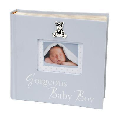 New Baby 80 6'x4' Photo Album with Silver Teddy Attachment - Gorgeous Baby Boy