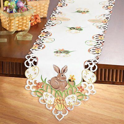 Easter Bunny and Eggs  Dining Kitchen Table Runner Topper.