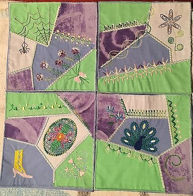 Embroidered Set of 4 quilt block, fabric,cushion panel,quilts, Appliqué