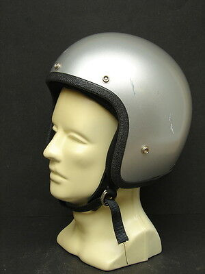Vintage NOS Silver Open Face Motorcycle Scooter Helmet Buco? Bell? Small