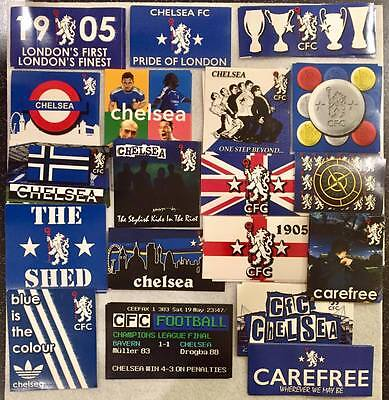 100 x Chelsea CFC Sticker Set Ultras Based on Poster Pin Badge & Adidas Flag