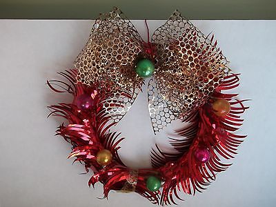 VTG.CHRISTMAS RED ALUMINUM look WREATH WITH MERCURY GLASS BEADS-LOVELY