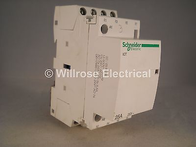 Schneider Contactor 25 Amp 4 Pole 24VAC Coil N/C Acti 9 25A iCT A9C20137