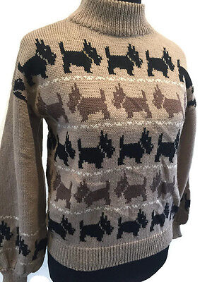 Sally's Own Vintage Pure Wool Brown Scottish Terrier Sweater Made in England Siz