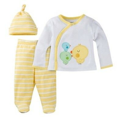 """Gerber 3-Piece Unisex Yellow """"Take Me Home"""" Set Size NB BABY CLOTHES SHOWER GIFT"""