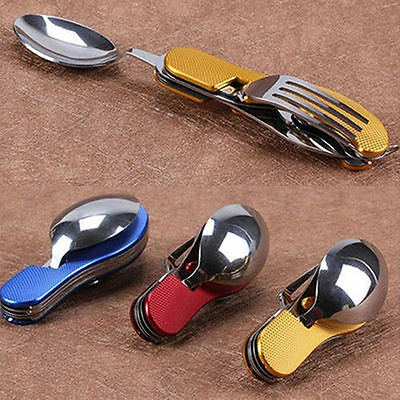 Outdoor 3in1 Folding Travel Camping Utensil Stainless Pocket Spoon Knife Fork SU