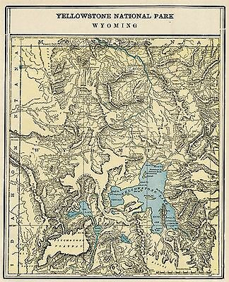"""Yellowstone National Park Map: Authentic1887 approximately 10"""" x 12"""""""