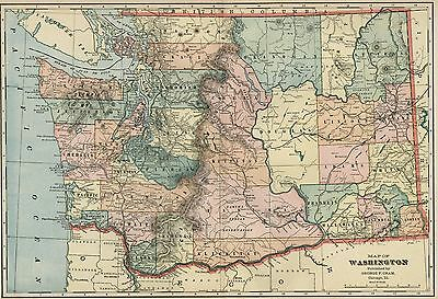 WASHINGTON STATE Map: Authentic 1899; Counties, Cities, RRs, Topography