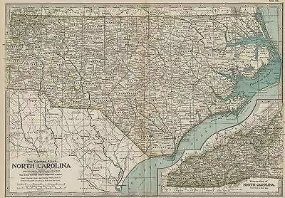 NORTH CAROLINA Map: Authentic 1897 (Dated) Towns, Counties, Railroads, Topog.