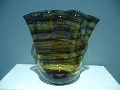 Superb Vintage Retro Art Glass Handkerchief Style Vase With Ruffled Rim - Vgc