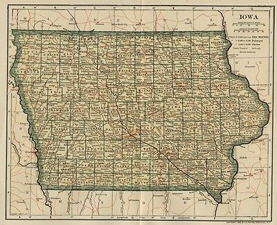 IOWA Map: 100+ Years Old showing Counties, Towns, Topography, Railroads