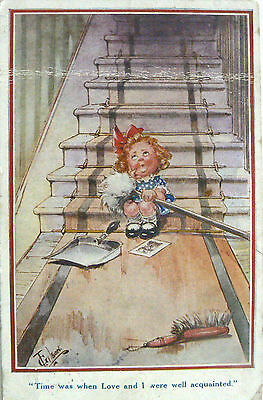 "Postcard-Comic-""time Was When Love And I Were Well Acquainted"".postmarked 1917"