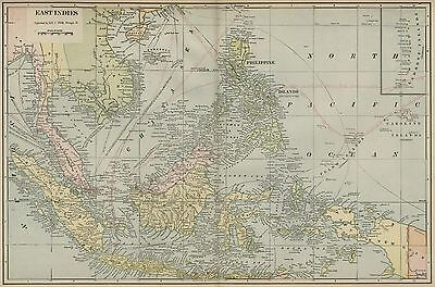 East Indies; East India Islands Map: Authentic 1899; with Many Island Groups