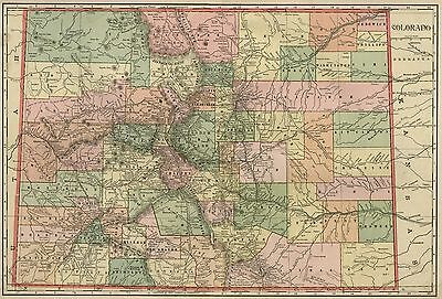 COLORADO Map: Authentic 1899; Counties, Cities, Towns, Railroads, Topography