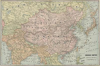CHINA Chinese Empire Map: Authentic 1899; Cities, Topography, Great Wall