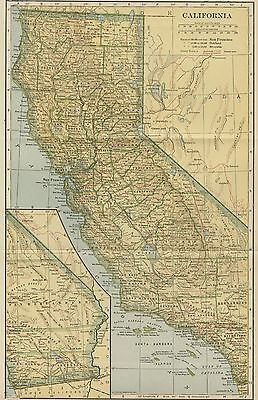 CALIFORNIA Map: 100 Years Old showing Counties, Towns, Topography, Railroads