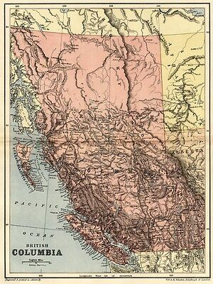 British Columbia Map: Authentic 1895; Detailed w/ Topography, Towns, RRs