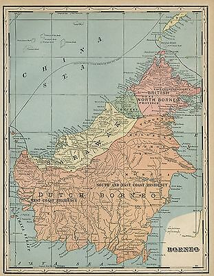 Borneo Island Map: Authentic 1899; / Provinces & Residencies; Towns, Ports