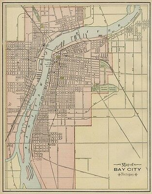 Bay City Michigan Street Map: Authentic 1887; Stations, Landmarks & more