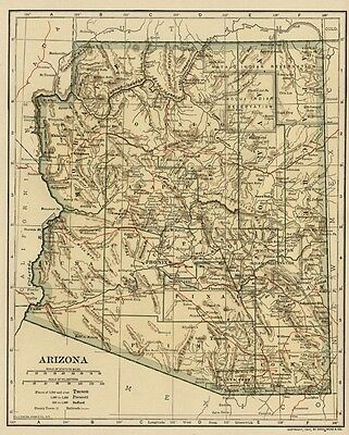 ARIZONA Territory Map: Authentic 1907 (Dated) with Counties, Towns, Topog, RRs