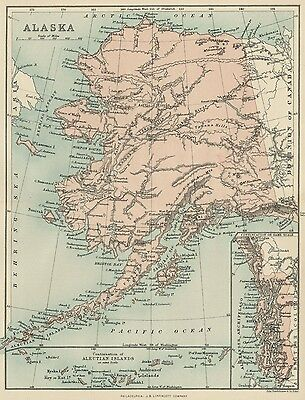 Alaska Map: Authentic 1897; Much uncharted; Russian & Native Am. Names OO