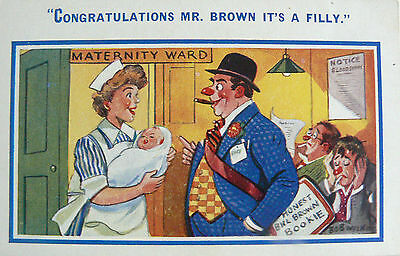 POSTCARD-COMIC-GAMBLING-'CONGRATULATIONS MR BROWN IT'S A FILLY'!.1920's