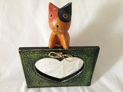 Hand carved Wooden Cat Ornament with mirror photo frame stand