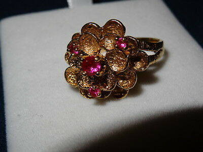 Gold Ring With Real Ruby Pink Stone, 10 K, Size 8 , For Woman