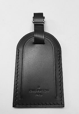Authentic LOUIS VUITTON Black Leather Damier Graphite Luggage Tag New!