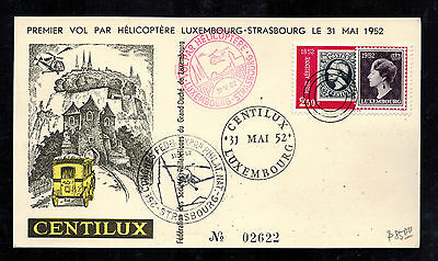 1952 Luxembourg First Helicopter FLight Cover to Strasbourg FFC Postcard