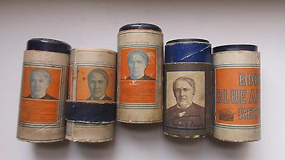 NICE Lot of Playable Antique Edison BLUE AMBEROL Cylinder Records, 1913