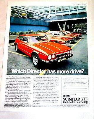 RELIANT SCIMITAR COLOUR ADVERT 1977 from MOTOR MAGAZINE - MINT CONDITION