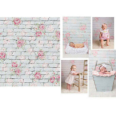 3x5FT Flower Brick Wall Backdrop Baby Newborn Photography Background Studio Prop