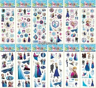 1-50 Sheets Frozen Puffy Elsa Anna Olaf Stickers Girls Party Favors Bag Fillers