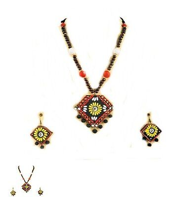 Hand made with Clay necklece set. colourful natural and vintage ethnic design