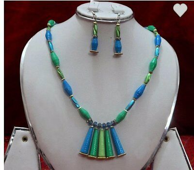 Hand made necklece set. green multi colour. set with ear ring. Light weight.