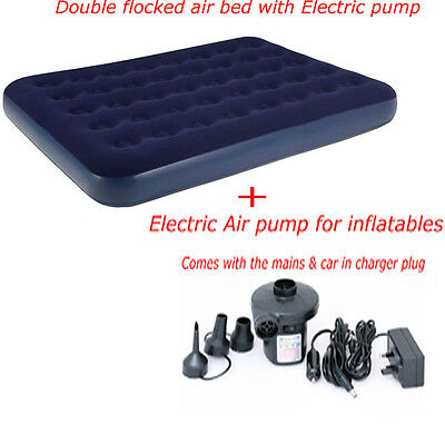 Double Inflatable Electric Pump Flocked Air Bed Camping Airbed Mattress Repair K