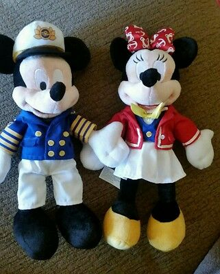 disney cruise line mickey and Minnie soft toy plushes RARE stamped