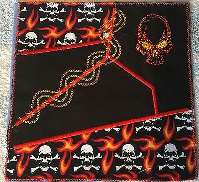 Embroidered Quilt block, fabric,cushion panel, Appliqué Goth Skull Flames