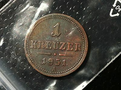 Austria COIN- 1 Kreuzer, 1851 A- COPPER- FANTASTIC COIN !!!