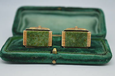 Vintage yellow metal cufflinks with a green marble insert #C465