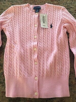 Kids Size M (8-10) Polo Ralph Lauren Pink Sweater Cardigan!