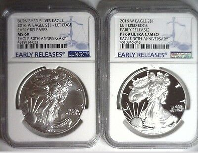 2016-W NGC PF69 MS69 Silver Eagle EARLY RELEASES Blue Label 2 COIN SET SHIPS NOW