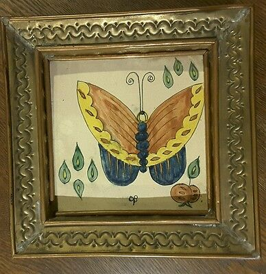 Mexican Ceramic Hand Tooled Copper Brass Frame Chilo Botes 1940's Butterfly