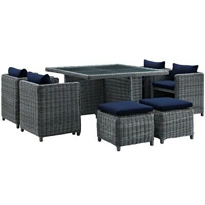 Modway Summon 9 Pcs, 4 Stools/4 Chairs/1 Tbl, Canvas Navy - EEI-1947-GRY-NAV-SET