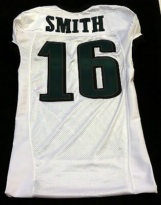#16 Brad Smith Authentic Game Issued Eagles White Nike Jersey - 2013 season
