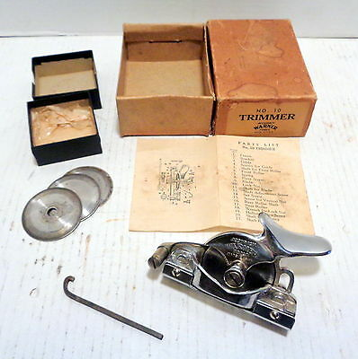 Vintage Warner Accuracy No. 10 wallpaper trimmer w/box instructions wrench EXLNT